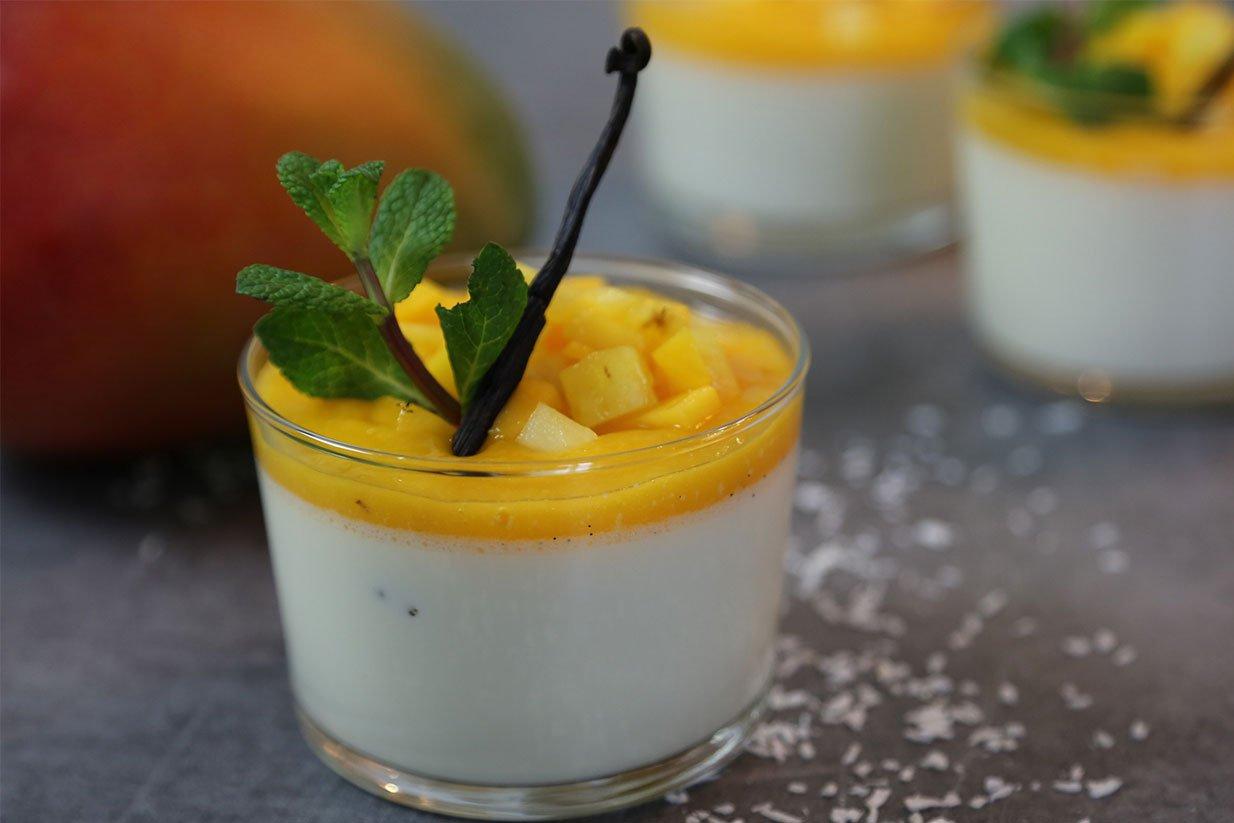 Recette facile de la panna cotta exotique vanille et mangue - Panna cotta herve cuisine ...
